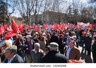 MADRID - MAR 11: Demonstration of Communist Party of Spain, Mar 11 2012 Madrid, Spain. Hundreds of thousands of Spaniards came out on March 11 on streets 60 cities to protest against labor law reform.