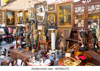 MADRID - MAR 19: Scene from El Rastro flea market on March 19, 2017 in Madrid Spain. El Rastro is visited by over 100,000 people and tourists every Sunday.