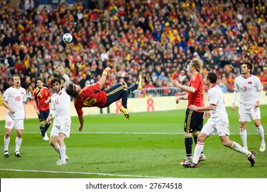 MADRID - MAR 28: Spain's Sergio Ramos bicycle kick shot goes just wide during the second half of their 1-0 victory over Turkey in their World Cup Qualifier March 28, 2009 in Madrid, Spain.