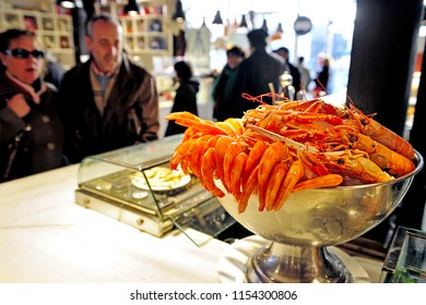MADRID - MARCH 01 2010:Fresh red shrimps Sea food on display in Madrid Food Market - Mercado San Miguel, one of the most popular food market in Madrid, Spain.