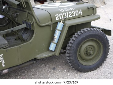 """MADRID - MARCH 5: US Army vehicle. Re-enactment of World War II by the """"Historic Re-enactment Group of Legan�©s"""" on March 5, 2012 in Madrid."""