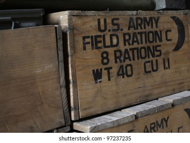 """MADRID - MARCH 5: US Army field rations. Re-enactment of World War II by the """"Historic Re-enactment Group of Legan�©s"""" on March 5, 2012 in Madrid."""