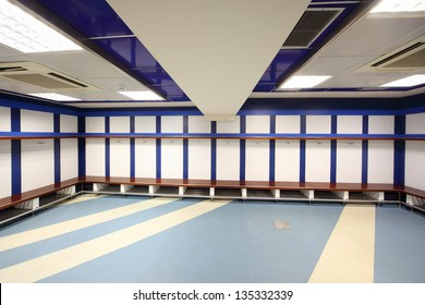 MADRID - MARCH 8: Cloakroom in Santiago Bernabeu Stadium - arena of soccer club Real Madrid, March 8 2012, Madrid, Spain. Spanish football club Real Madrid named FIFA best football club in XX century.