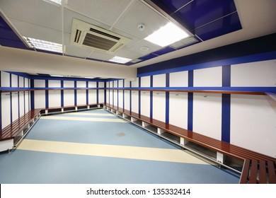 MADRID - MARCH 8: Locker room in Santiago Bernabeu Stadium - arena of soccer club Real Madrid, on March 8 2012 in Madrid, Spain. Spanish football club Real Madrid created March 6, 1902.