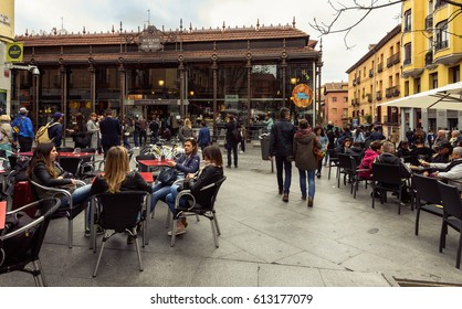 Madrid - May 09: Plaza de San Miguel opposite Mercado San Miguel on May 09, 2016 in Madrid, Spain. Mercado San Miguel of Madrid is one of the most popular landmark in Madrid, Spain.