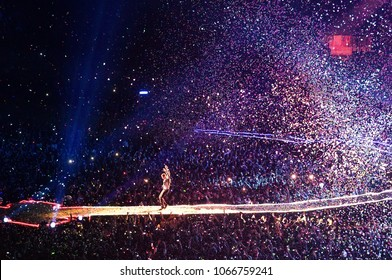 MADRID - MAY 20: Coldplay (band) perform in concert at Vicente Calderon stadium on May 20, 2012 in Madrid, Spain.