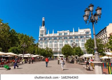 MADRID - MAY 23, 2012: Plaza de Santa Ana in the Barrio de las Letras