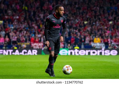 MADRID - MAY 3: Alexandre Lacazette plays at the Europa League Semi Final match between Atletico de Madrid and Arsenal at Wanda Metropolitano Stadium on May 3, 2018 in Madrid, Spain.