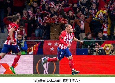 MADRID - MAY 3: Atletico players celebrate a goal at the Europa League Semi Final match between Atletico de Madrid and Arsenal at Wanda Metropolitano Stadium on May 3, 2018 in Madrid, Spain.
