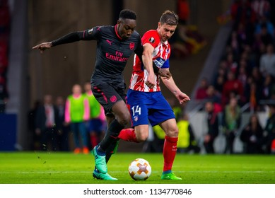 MADRID - MAY 3: Danny Welbeck plays at the Europa League Semi Final match between Atletico de Madrid and Arsenal at Wanda Metropolitano Stadium on May 3, 2018 in Madrid, Spain.