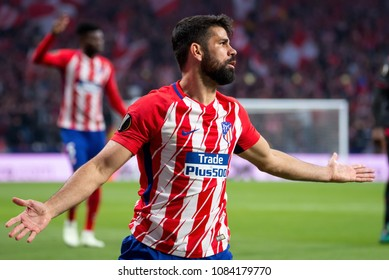 MADRID - MAY 3: Diego Costa plays at the Europa League Semi Final match between Atletico de Madrid and Arsenal at Wanda Metropolitano Stadium on May 3, 2018 in Madrid, Spain.