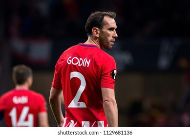 MADRID - MAY 3: Diego Godin plays at the Europa League Semi Final match between Atletico de Madrid and Arsenal at Wanda Metropolitano Stadium on May 3, 2018 in Madrid, Spain.