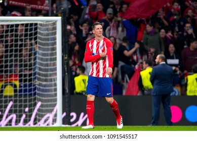 MADRID - MAY 3: Fernando Torres plays at the Europa League Semi Final match between Atletico de Madrid and Arsenal at Wanda Metropolitano Stadium on May 3, 2018 in Madrid, Spain.
