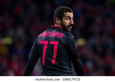 MADRID - MAY 3: Henrikh Mkhitaryan plays at the Europa League Semi Final match between Atletico de Madrid and Arsenal at Wanda Metropolitano Stadium on May 3, 2018 in Madrid, Spain.