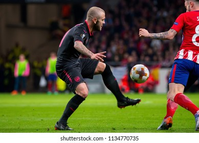 MADRID - MAY 3: Jack Wilshere plays at the Europa League Semi Final match between Atletico de Madrid and Arsenal at Wanda Metropolitano Stadium on May 3, 2018 in Madrid, Spain.