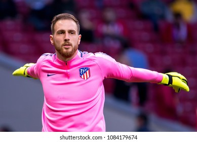 MADRID - MAY 3: Jan Oblak plays at the Europa League Semi Final match between Atletico de Madrid and Arsenal at Wanda Metropolitano Stadium on May 3, 2018 in Madrid, Spain.