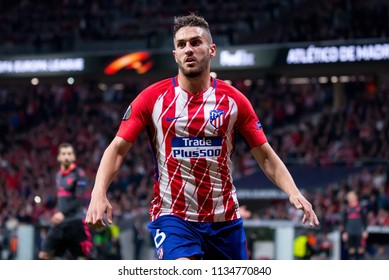 MADRID - MAY 3: Koke plays at the Europa League Semi Final match between Atletico de Madrid and Arsenal at Wanda Metropolitano Stadium on May 3, 2018 in Madrid, Spain.