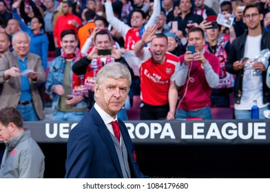 MADRID - MAY 3: The manager Arsene Wenger at the Europa League Semi Final match between Atletico de Madrid and Arsenal at Wanda Metropolitano Stadium on May 3, 2018 in Madrid, Spain.