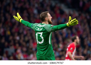 MADRID - MAY 3: Oblak plays at the Europa League Semi Final match between Atletico de Madrid and Arsenal at Wanda Metropolitano Stadium on May 3, 2018 in Madrid, Spain.