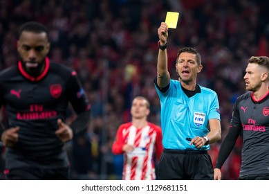 MADRID - MAY 3: The referee Gianluca Rocchi at the Europa League Semi Final match between Atletico de Madrid and Arsenal at Wanda Metropolitano Stadium on May 3, 2018 in Madrid, Spain.