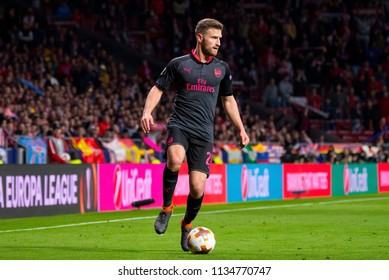 MADRID - MAY 3: Shkodran Mustafi plays at the Europa League Semi Final match between Atletico de Madrid and Arsenal at Wanda Metropolitano Stadium on May 3, 2018 in Madrid, Spain.