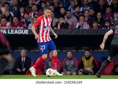 MADRID - MAY 3: Vitolo plays at the Europa League Semi Final match between Atletico de Madrid and Arsenal at Wanda Metropolitano Stadium on May 3, 2018 in Madrid, Spain.