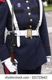 MADRID - MAY 5: Detail of a royal guard uniform. Ceremony of the Oath of Allegiance of the Royal Guards at El Pardo Palace on May 4, 2012 in Madrid