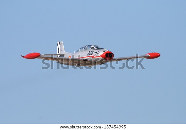 MADRID OCT 5, 2008. Pilot dies in crash on display at air base Cuatro Vientos, The plane crashed is the image an HA-200. Image taken on October 5, 2008. Accident happened on May 5, 2013