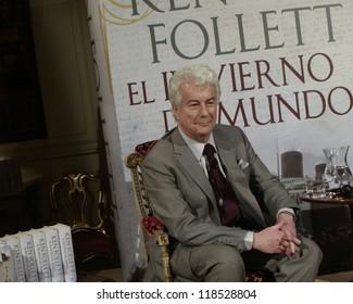 """MADRID - OCTOBER 24: Ken Follett presents his new historical novel """"El Invierno Del Mundo"""" (Winter Of The World) at the Italian Embassy on October 24, 2012 in Madrid."""
