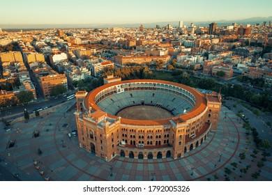 Madrid Plaza de Toros de Las Ventas (Las Ventas Bullring) aerial view with historical buildings in Spain.