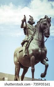 Madrid Plaza Mayor with statue of king Philips III in Spain
