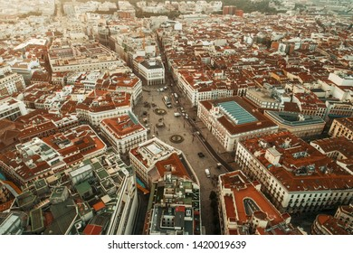 Madrid Puerta del Sol aerial view with historical buildings in Spain.