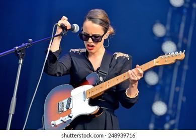 MADRID - SEP 13: Anna Calvi performance at Dcode Festival on September 13, 2014 in Madrid, Spain.