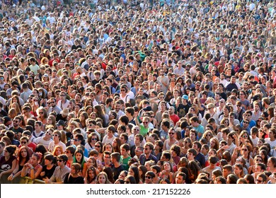 MADRID - SEP 13: People from the audience in a show at Dcode Festival on September 13, 2014 in Madrid, Spain.