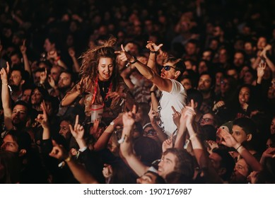MADRID - SEP 7: Music fans in a concert at Dcode Music Festival on September 7, 2019 in Madrid, Spain.