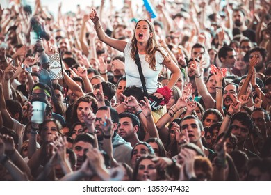 MADRID - SEP 8: The crowd in a concert at Dcode Music Festival on September 8, 2018 in Madrid, Spain.