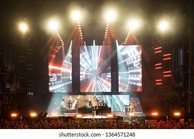 MADRID - SEP 8: Imagine Dragons (band) perform in concert at Dcode Music Festival on September 8, 2018 in Madrid, Spain.