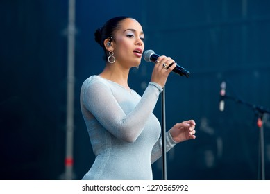 MADRID - SEP 8: Jorja Smith (rhythm and blues singer) performs in concert at Dcode Music Festival on September 8, 2018 in Madrid, Spain.