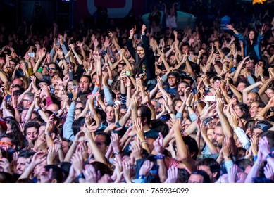 MADRID - SEP 9: The crowd in a concert at Dcode Music Festival on September 9, 2017 in Madrid, Spain.