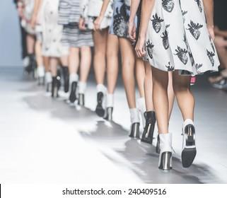 MADRID - SEPTEMBER 14: shoes detaila on the Juan Vidal catwalk during the Mercedes-Benz Fashion Week Madrid Spring/Summer 2015 runway on September 14, 2014 in Madrid.