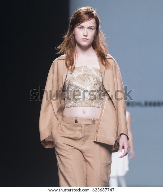 MADRID - SEPTEMBER 16: a model walks on the Angel Schlesser catwalk during the Mercedes-Benz Fashion Week Madrid Spring/Summer 2017 runway on September 16, 2016 in Madrid.