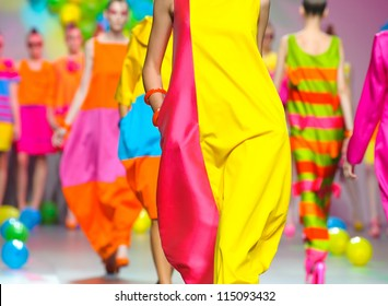 MADRID -Â?Â? SEPTEMBER 17: Details of clothing on the Agatha Ruiz de la Prada catwalk during the Cibeles Madrid Fashion Week runway on September 17, 2011 in Madrid, Spain.