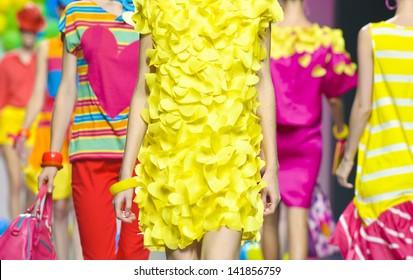 MADRID - SEPTEMBER 17: Details of clothing on the Agatha Ruiz de la Prada catwalk during the Cibeles Madrid Fashion Week runway on September 17, 2011 in Madrid, Spain.