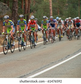 """MADRID - SEPTEMBER 18: Spanish Vuelta (cycling), Epic stage at """"bola del mundo, navacerrada"""", cyclist climb a very hard hill. In the picture, """"Vincenzo Nibali"""". September 18, 2010 in Madrid (Spain)"""