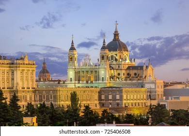 Madrid skyline and almudena church at sunset,Spain
