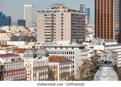 Madrid skyline city center. Downtown traditional buildings. Travel in Spain