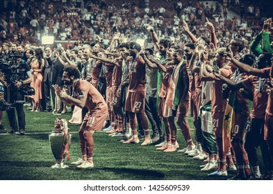 Madrid, Spain - 01 MAY 2019: Mohamed Salah with cup celebrate their winning of the UEFA Champions League 2019 after the final game at Wanda Metropolitano, Spain