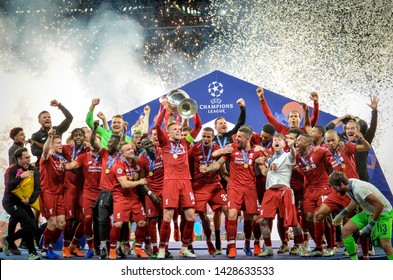 Madrid, Spain - 01 MAY 2019: Liverpool players celebrate their winning of the UEFA Champions League 2019 after the final game against Tottenham Hotspur at Wanda Metropolitano, Spain