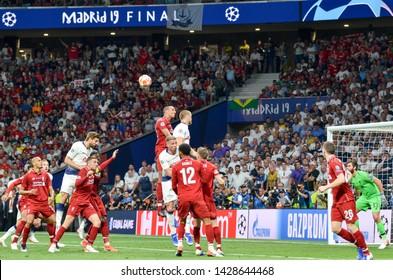 Madrid, Spain - 01 MAY 2019: Football player during the UEFA Champions League 2019 final match between FC Liverpool  vs Tottenham Hotspur at Wanda Metropolitano, Spain
