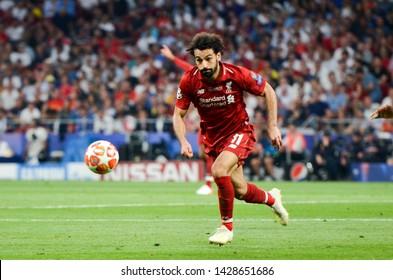 Madrid, Spain - 01 MAY 2019: Mohamed Salah player during the UEFA Champions League 2019 final match between FC Liverpool  vs Tottenham Hotspur at Wanda Metropolitano, Spain
